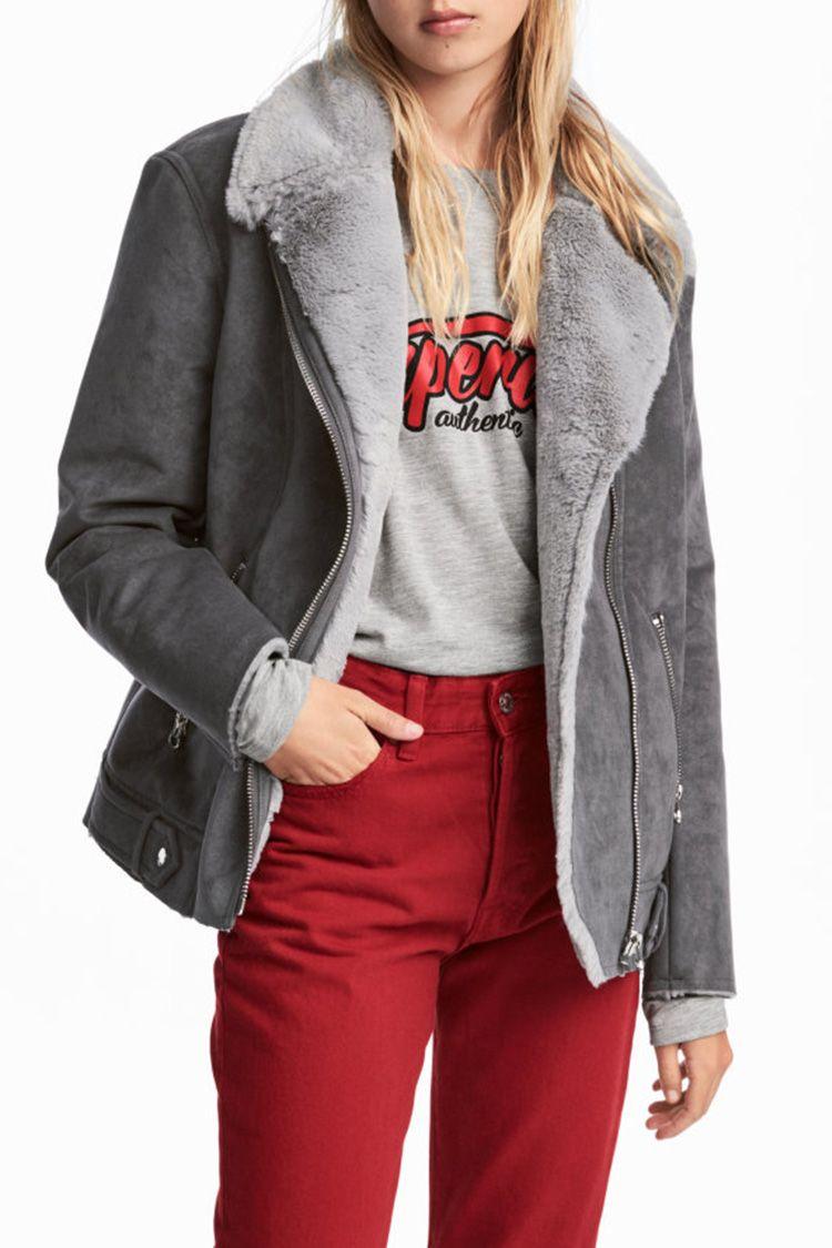 h&m gray biker jacket