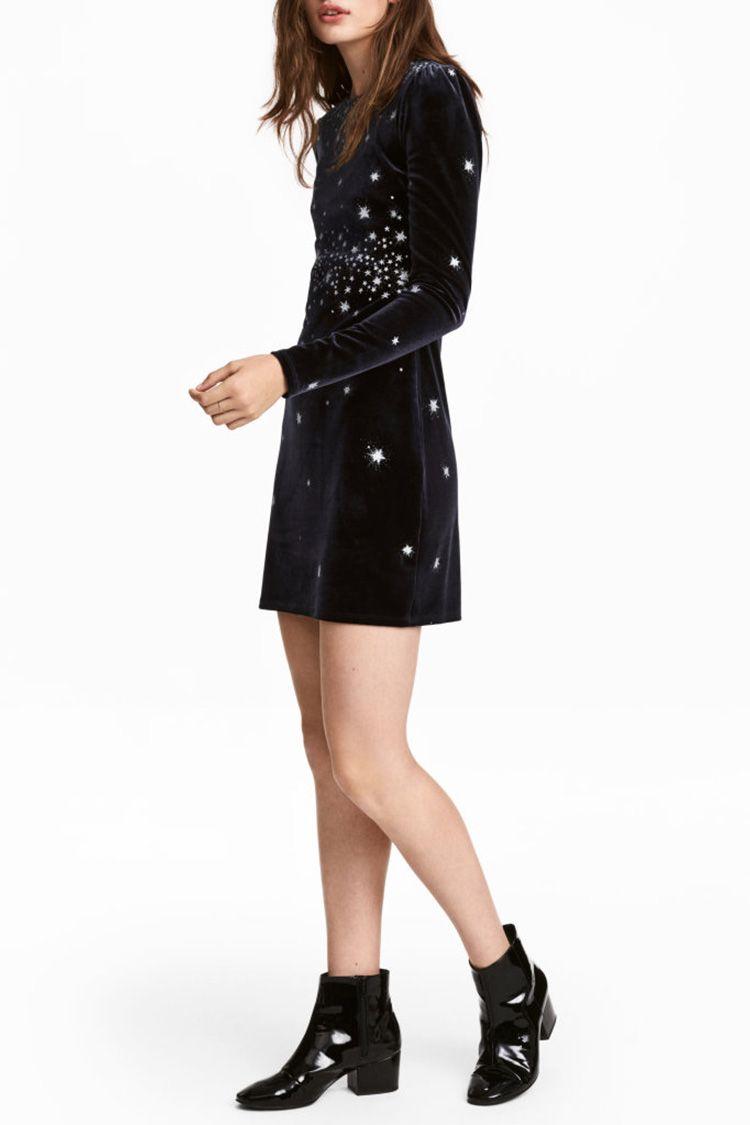 h&m glitter velvet dress