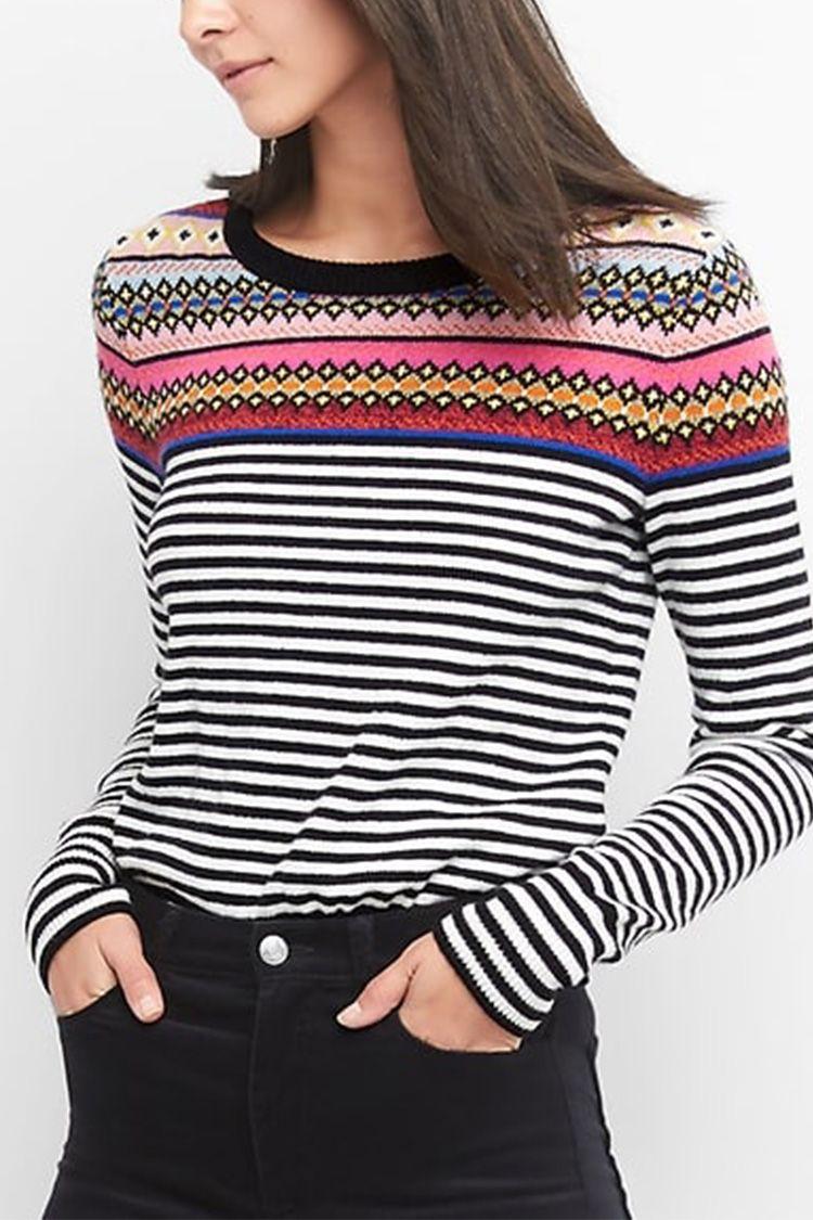 GAP crazy fair isle striped sweater