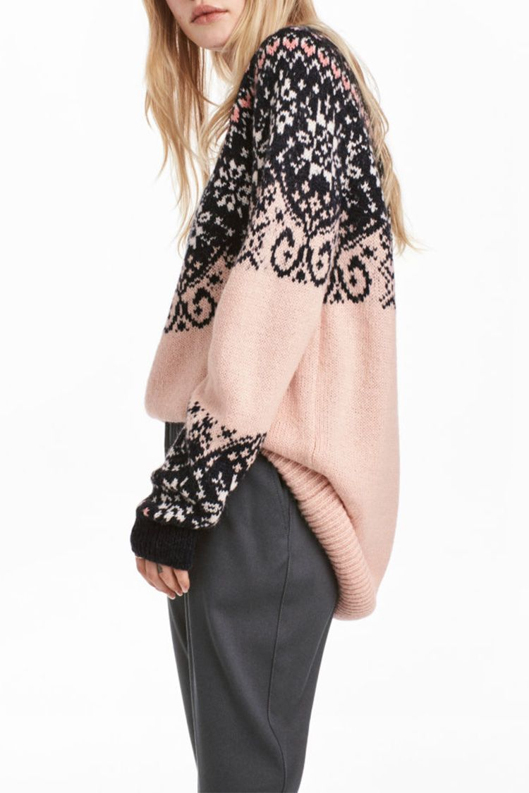 h&m pink gray fair isle sweater