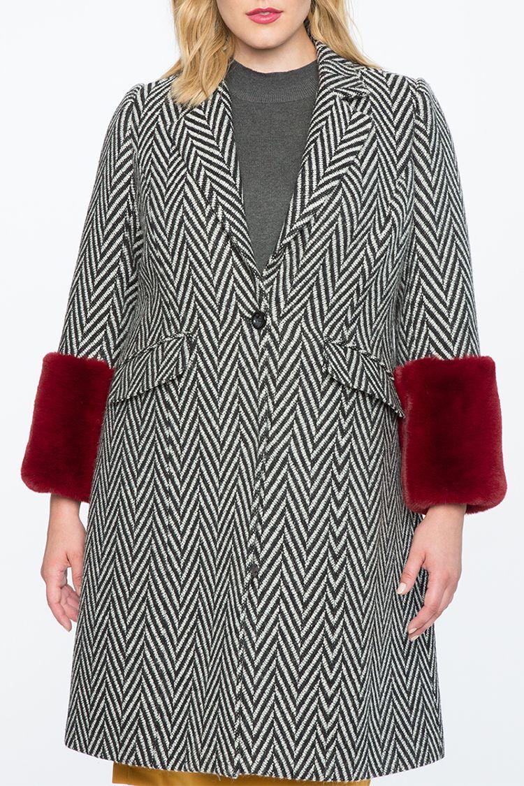 eloquii coat with fur cuffs