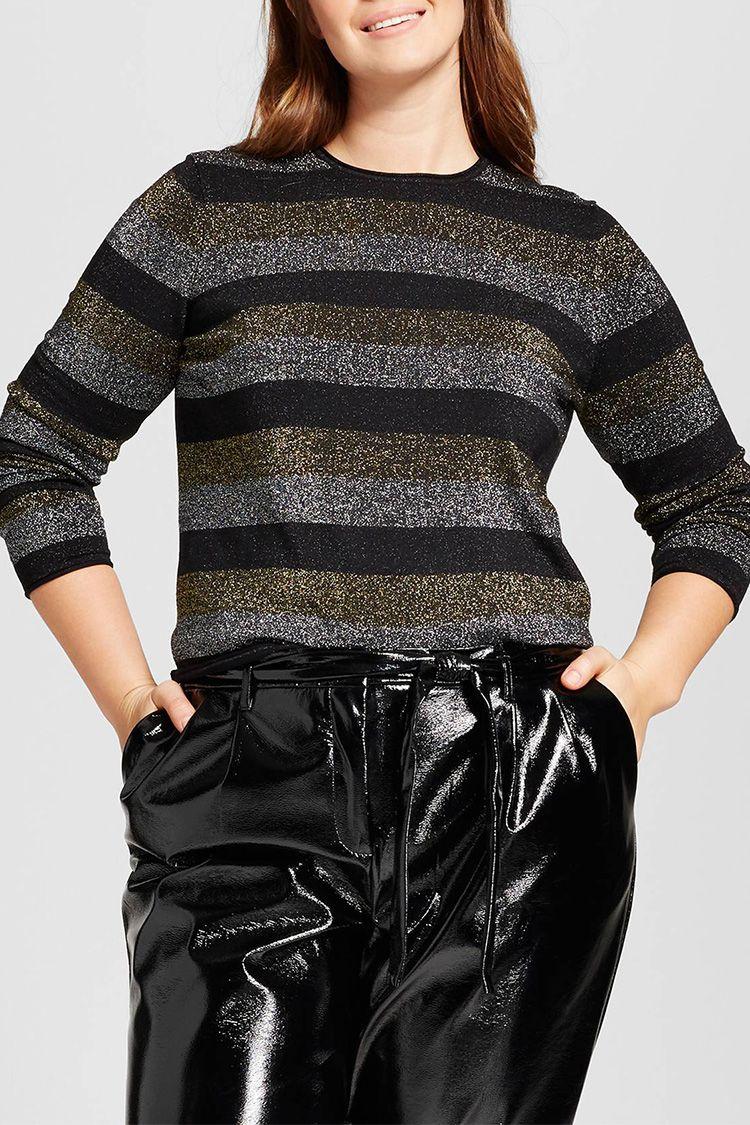 who what wear metallic stripe sweater
