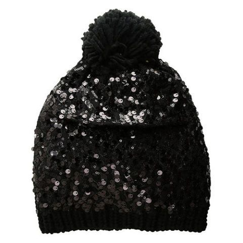 betsey johnson black sequin beanie