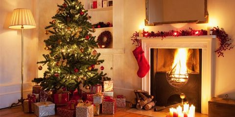 Christmas tree, Christmas decoration, Christmas, Christmas eve, Room, Christmas ornament, Tree, Home, Hearth, Living room,