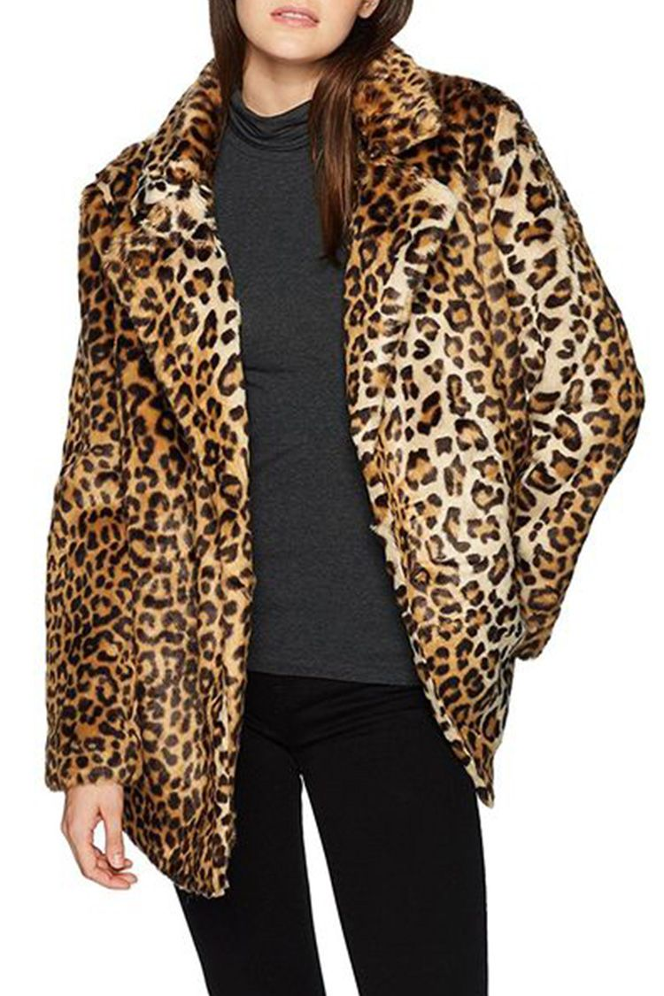 JOA leopard faux fur coat