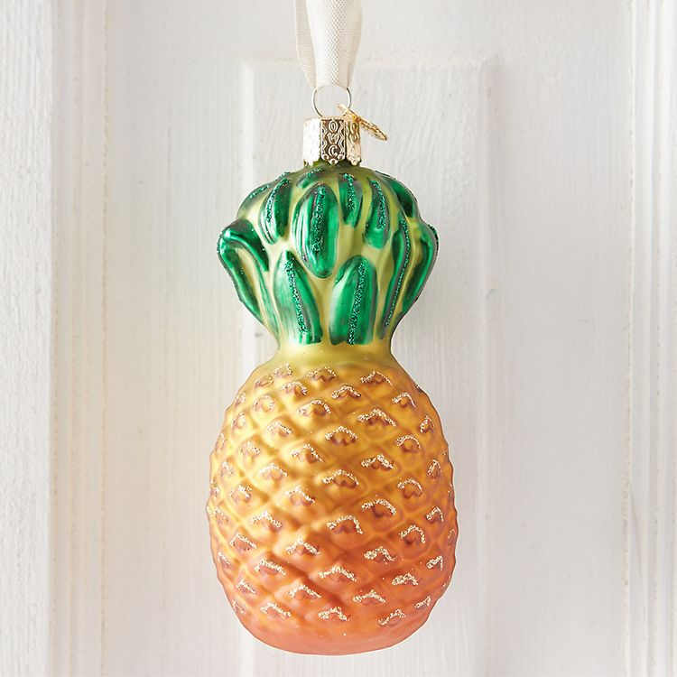 Terrain Pineapple Glass Ornament
