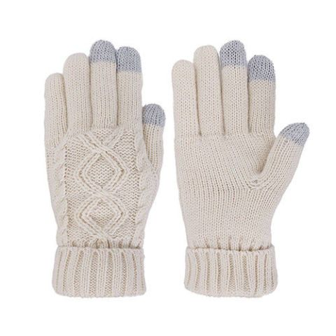 Simplicity Ladies' 3 Fingers Touchscreen Cable Knit Winter Gloves