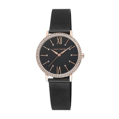 Vince Camuto Swarovski Crystal and Rose Gold Tone Mesh Women's Watch