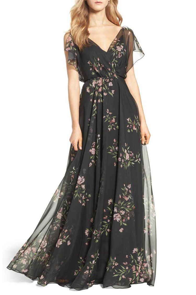 jenny yoo black floral gown