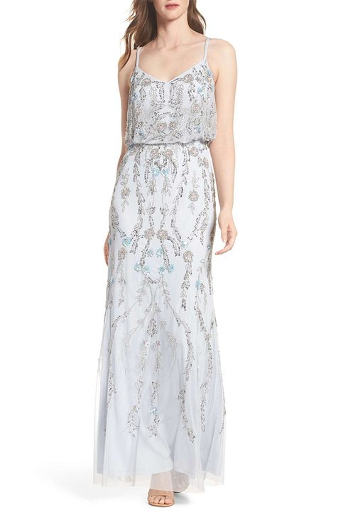 adrianna papell blue beaded gown