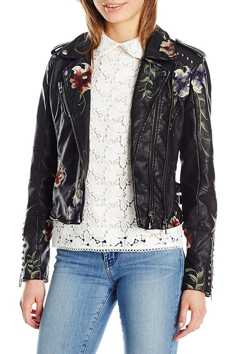 blank nyc floral moto jacket