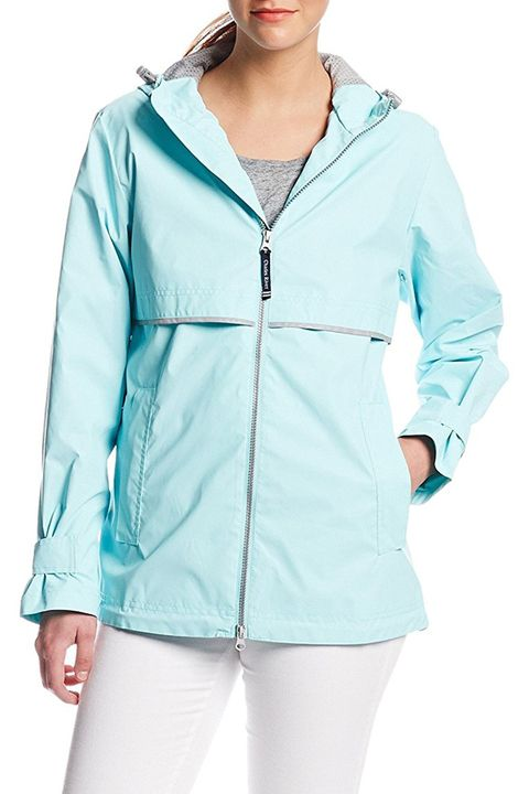 charles river new englander rain coat blue