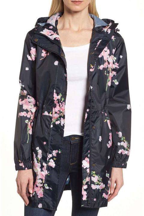 joules black floral rain coat