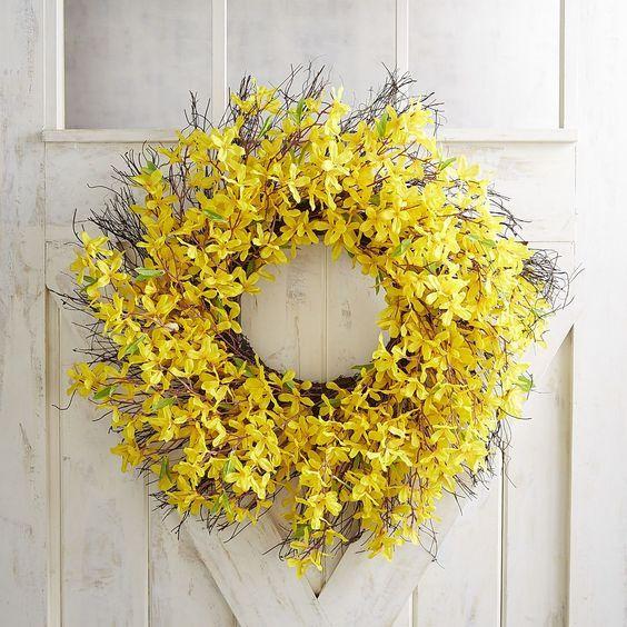 "Pier 1 Imports Faux Yellow Forsythia Oversized 28"" Wreath"