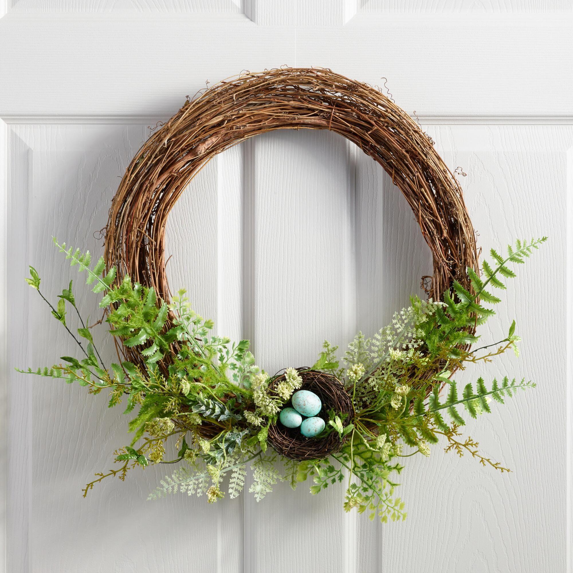 World Market Vine And Faux Fern Nest Wreath Decor