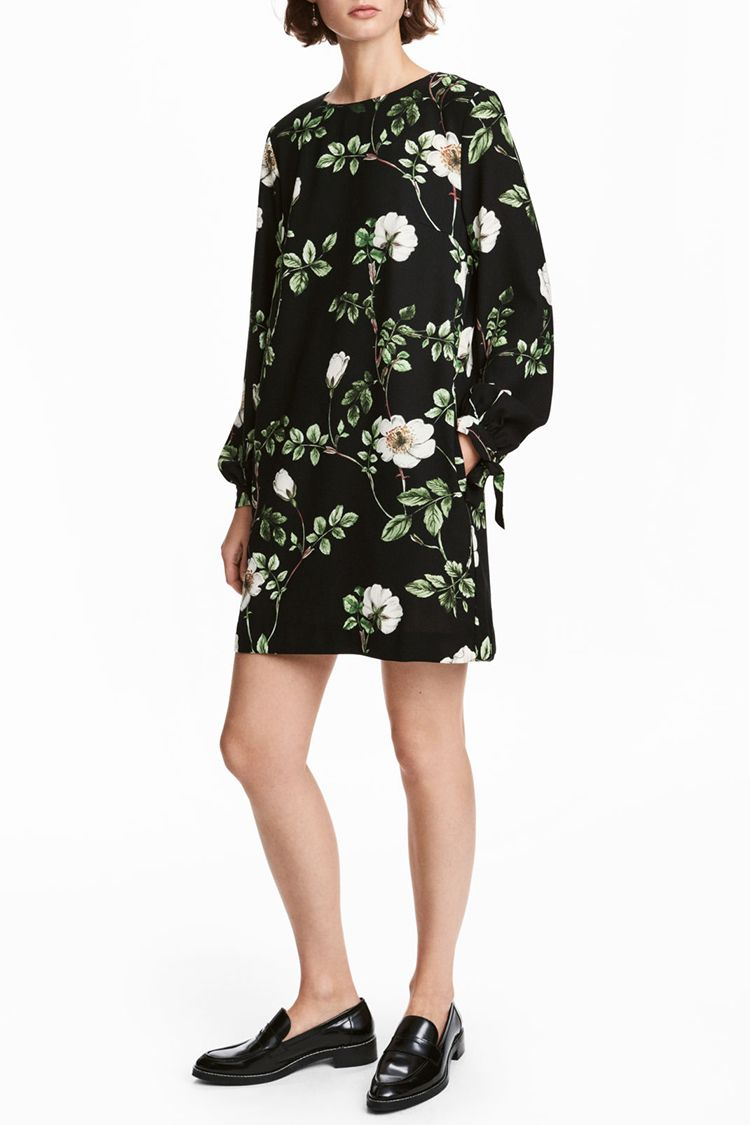 h&m black floral dress