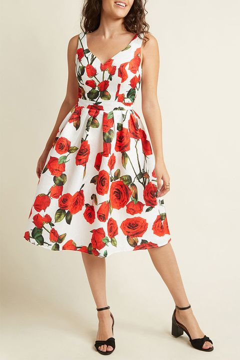 mod cloth floral fit and flare dress