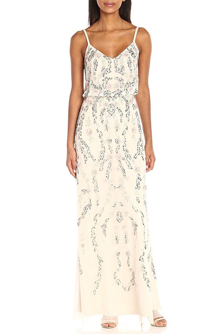 adrianna papell beaded white dress
