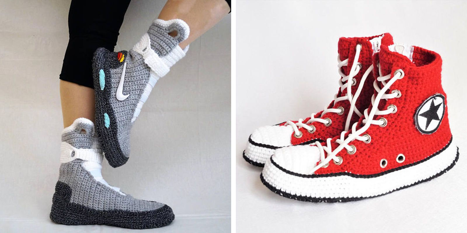 These Knitted Slippers Look Exactly Like Nike and Converse Sneakers