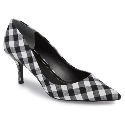 gingham kitten heel pumps