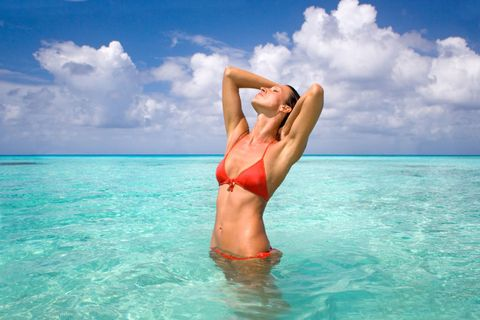 Fluid, Swimwear, Brassiere, Liquid, Swimsuit top, Summer, Elbow, Undergarment, Bikini, Swimsuit bottom,