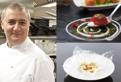 Chef, Cook, Vegetable, Dishware, Chef's uniform, Kitchen utensil, Produce, Ingredient, Cooking, Fruit,