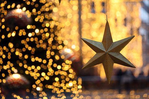 Event, Christmas decoration, Christmas, Christmas eve, Christmas lights, Holiday, Christmas tree, Ornament, Star, Christmas ornament,
