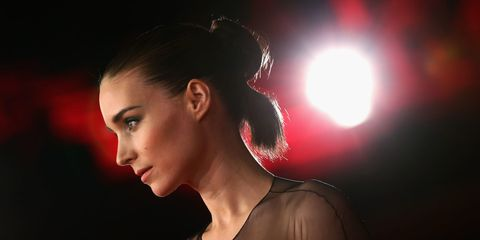 Ear, Lip, Hairstyle, Earrings, Red, Eyelash, Jaw, Fashion, Beauty, Neck,