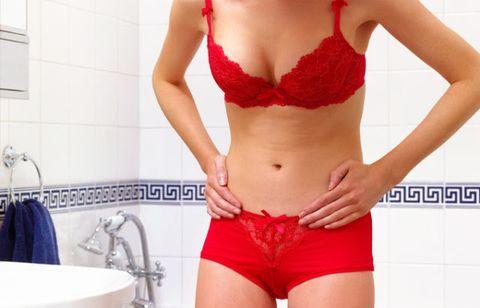 Clothing, Plumbing fixture, Shoulder, Waist, Brassiere, Joint, Red, Undergarment, Trunk, Bathroom sink,