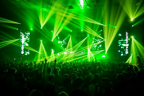 Green, Entertainment, Event, Music, Performing arts, Electricity, Music venue, Visual effect lighting, Crowd, Laser,
