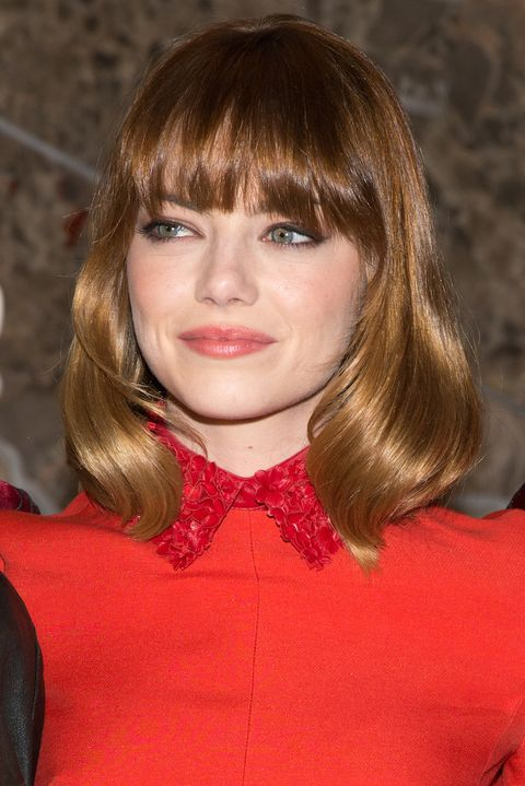 Lip, Mouth, Hairstyle, Chin, Collar, Red, Bow tie, Bangs, Style, Step cutting,