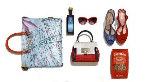Bag, Logo, Teal, Wallet, Rectangle, Goggles, Everyday carry, Bottle, Office instrument, Shoulder bag,