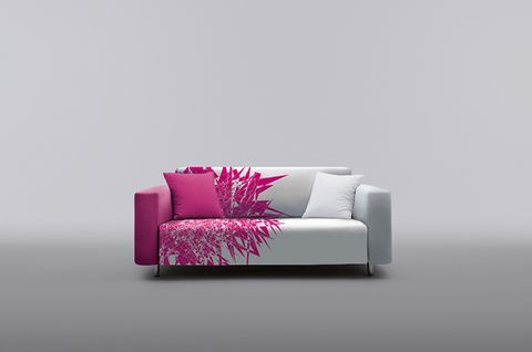 Couch, Furniture, Magenta, Pink, Purple, Pillow, Violet, Cushion, Grey, Living room,