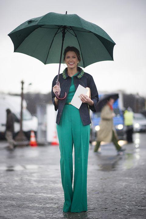 Sleeve, Umbrella, Standing, Winter, Coat, Street fashion, Travel, Teal, Jacket, Rain,
