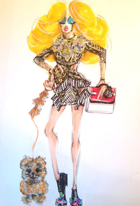 Goggles, Fashion illustration, Costume accessory, Art, Costume design, Costume, Illustration, Painting, Sunglasses, High heels,