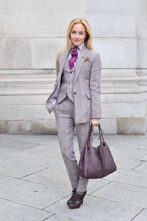 Clothing, Sleeve, Collar, Textile, Coat, Outerwear, Bag, Style, Street fashion, Purple,