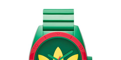 Green, Watch, Red, Logo, Teal, Symbol, Circle, Watch accessory, Brand, Coquelicot,