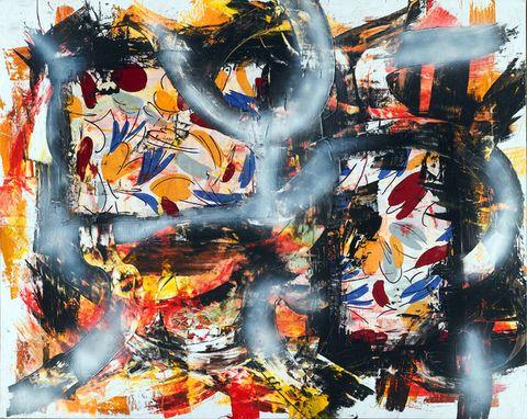 Orange, Paint, Art, Art paint, Modern art, Artwork, Visual arts, Painting, Graphics, Illustration,
