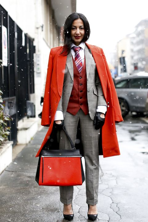 Clothing, Coat, Collar, Textile, Red, Standing, Outerwear, Bag, Style, Street fashion,