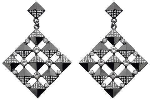 Pattern, White, Style, Triangle, Black-and-white, Earrings, Design, Symmetry, Body jewelry, Silver,