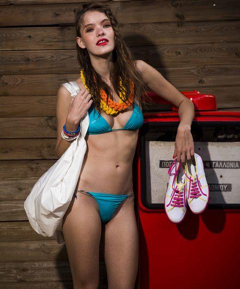 Brassiere, Swimwear, Swimsuit top, Bikini, Undergarment, Lingerie, Swimsuit bottom, Thigh, Muscle, Abdomen,