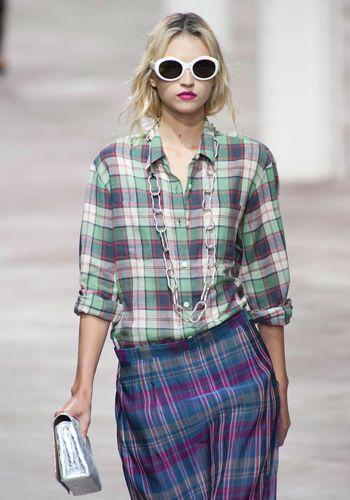 Clothing, Eyewear, Plaid, Vision care, Lip, Tartan, Collar, Sleeve, Sunglasses, Pattern,
