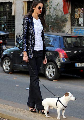 Clothing, Eyewear, Human, Dog, Dog breed, Trousers, Land vehicle, Carnivore, Collar, Street,
