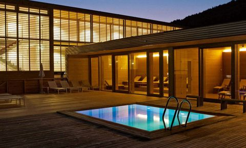Swimming pool, Property, Real estate, Glass, Home, Composite material, Shade, Resort, Evening, Villa,