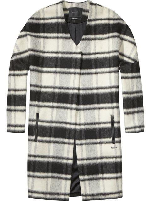 Coat in lana destrutturato, 1 bottone e profili in pelle, <b>Maison Scotch</b>
