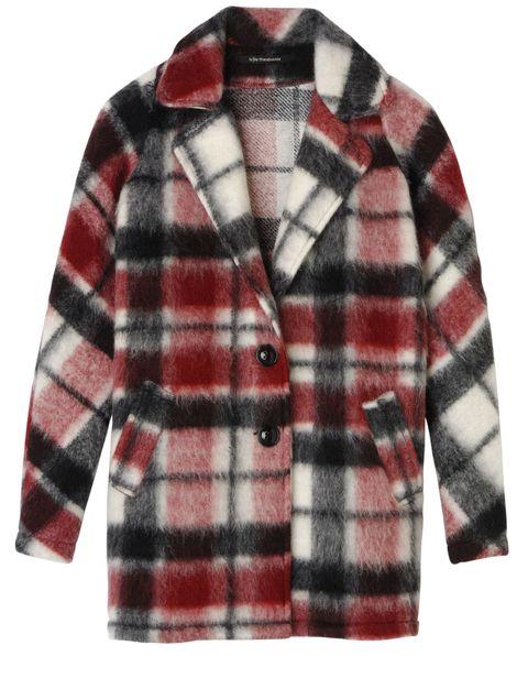 Taglio a tre quarti per il cappotto madras in lana, <b>La Fée Maraboutée</b>