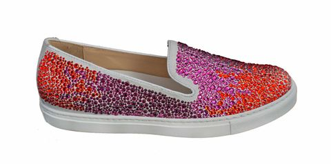 Slip on in pelle bianca ricoperta da cristalli full color