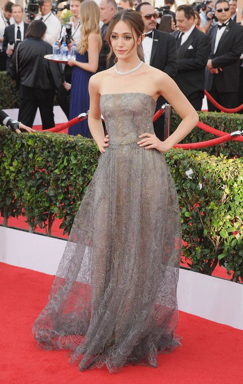 LOS ANGELES, CA - JANUARY 25:  Actress Emmy Rossum arrives at the 21st Annual Screen Actors Guild Awards at The Shrine Auditorium on January 25, 2015 in Los Angeles, California.  (Photo by Jon Kopaloff/FilmMagic)