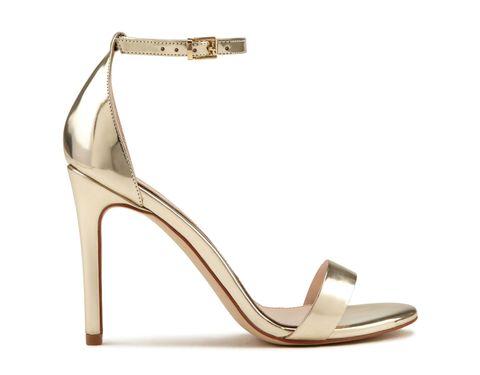 Sandalo in pelle metal oro con cinturino alla caviglia