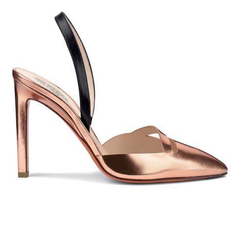 Sandalo modello sling back in pelle metal oro rosa